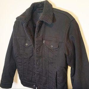 Levi's Black Boyfriend Trucker Sherpa Jacket XS